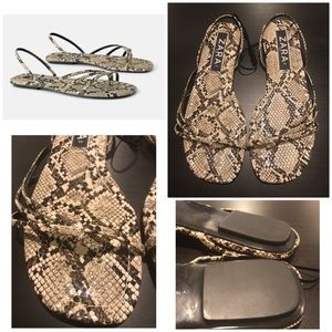 ZARA Snake Printed Flat Sandals